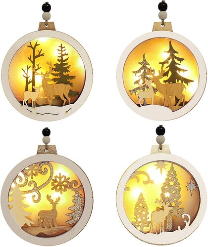 Joiedomi 4pcs Hanging Wooden Christmas Tree Ornaments with LED Light Xmas Decor
