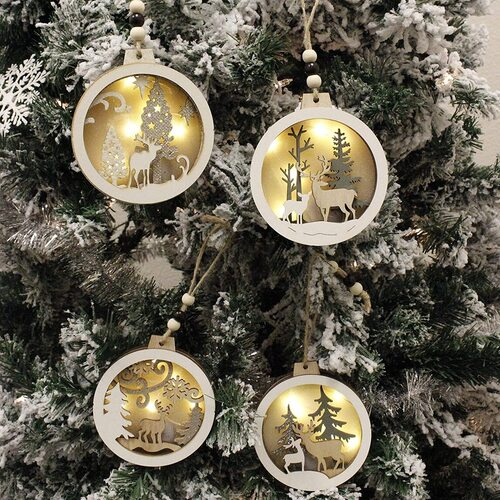 Joiedomi 4pcs Hanging Wooden Christmas Tree Ornaments with LED Light
