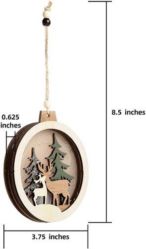 Joiedomi 4pcs Hanging Wooden LED Christmas Tree Ornaments Xmas Decor