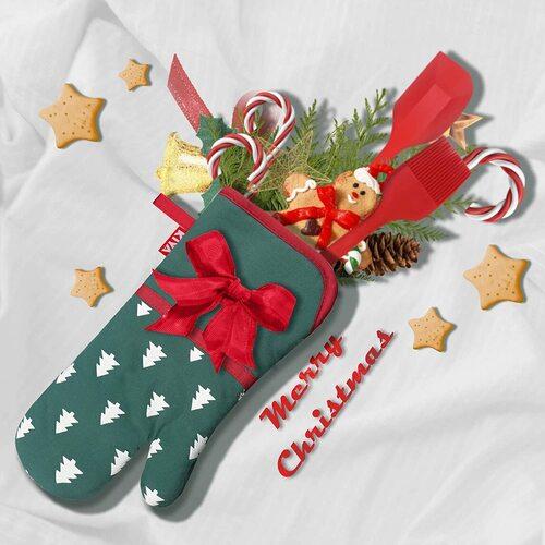 KIYA 10pcs Christmas tree-Snowflakes Design Oven Mitts in Christmas Gift Bag
