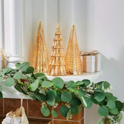 LampLust Juniper Glass Trees Christmas Decor, Champagne Set of 3