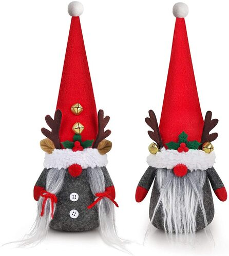 Red hat and grey body Christmas gnome by D-fantiX