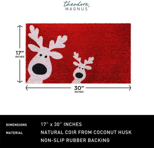 THEODORE MAGNUS Red - Reindeer Games Christmas Coir Doormat with Non-Slip Rubber Backing