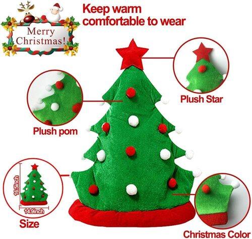 TURNMEON 2pcs Plush Funny Christmas Tree Shaped Party Hats