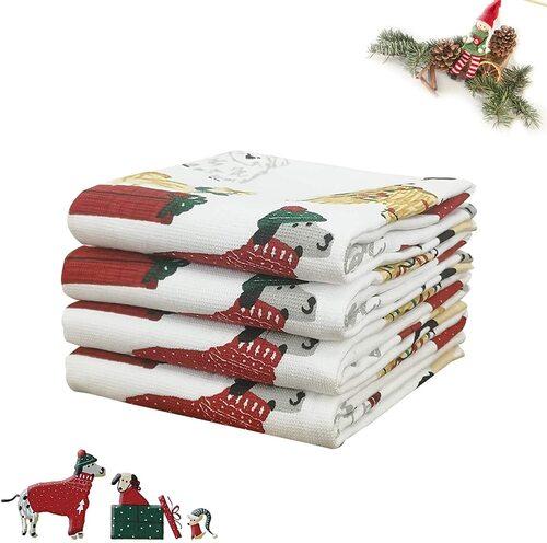 VNICGFOMGT 4pcs Christmas Kitchen Towels with Cute Festive Dog Design