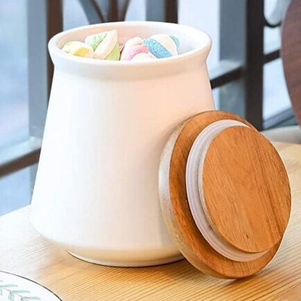 Ceramic Canisters with Wood Cover by ComSaf