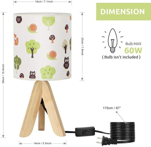 HAITRAL Cute Forest pattern Tripod Decorative Table Lamp for Kids Playroom
