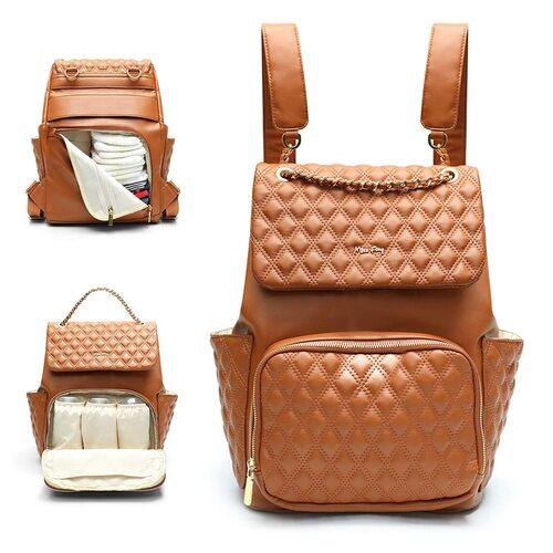 miss fong Diamond Brown Diaper Bag Backpack