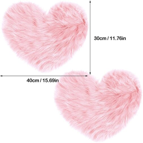 Mudder 2 pieces wool heart shaped rug for home decoration