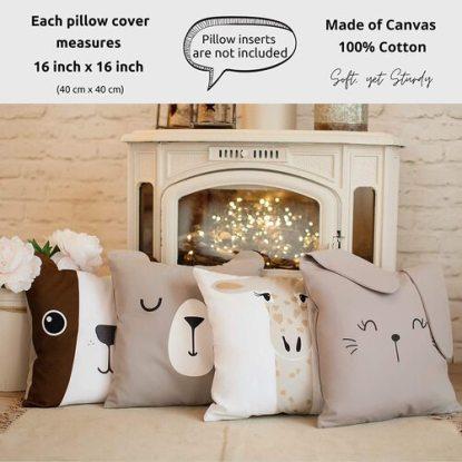 RainMeadow 4pcs Animal-shaped Pillow Covers for Kids Room