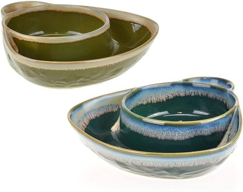 Set of 2 convenient dinnerware bowl with 2 compartments to keep food separate
