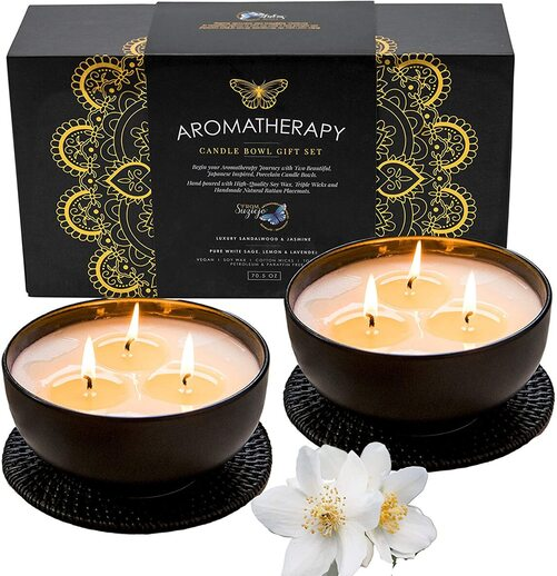 Suziejo Japanese inspired Porcelain Bowls Candles Gift Set in a quality magnetic closure box