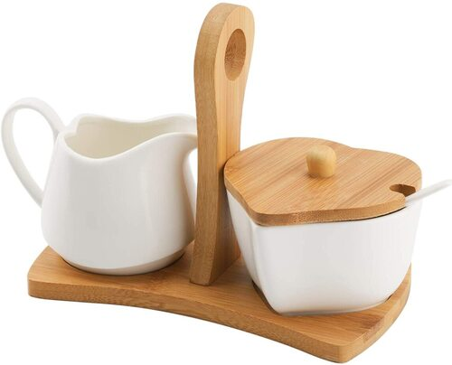 TIANGR sugar bowl and creamer pitcher set with bamboo tray and bamboo handle