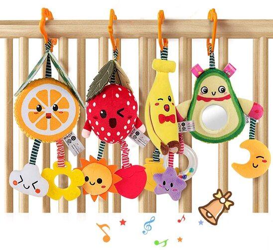4 Piece Cute Hanging Fruit Rattles
