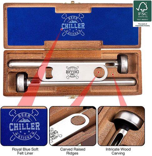 Woondulla Stainless Steel Beer Chiller Sticks with Bottle Opener in Wood Box the Best Boyfriend Gift