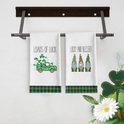 Artoid Mode 2pcs Polyester St. Patrick's Day Lucky Shamrock Truck Gnomes Decorative Kitchen Dish Towels