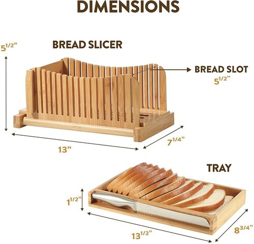Bambüsi Bamboo Foldable 3 sizes Bread Slicer with Crumb Catcher Tray and Stainless Steel Knife include storage bag