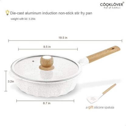 COOKLOVER White Die-casting Aluminum Induction Non-stick Stir Frying Pan