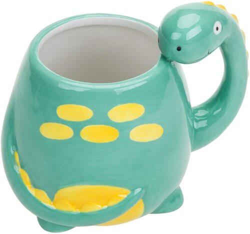 MyGift Dinosaurus-design Hand-painted Ceramic Mug Cute Gift Idea