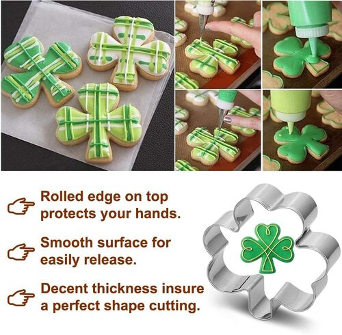 Pekaqose 12pcs Stainless Steel St. Patrick's Day Themed Cookie Cutters with Rolled Edge