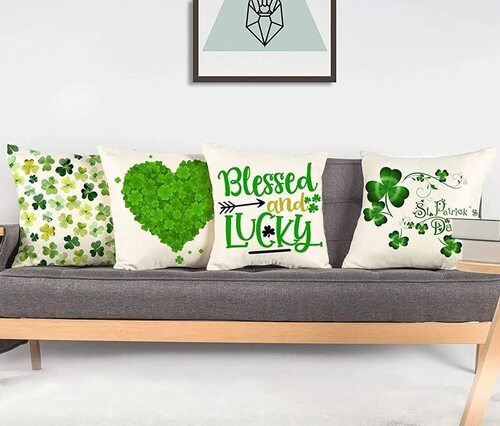 Set of 4 St. Patrick's Throw Pillow Covers Decor by 4TH Emotion