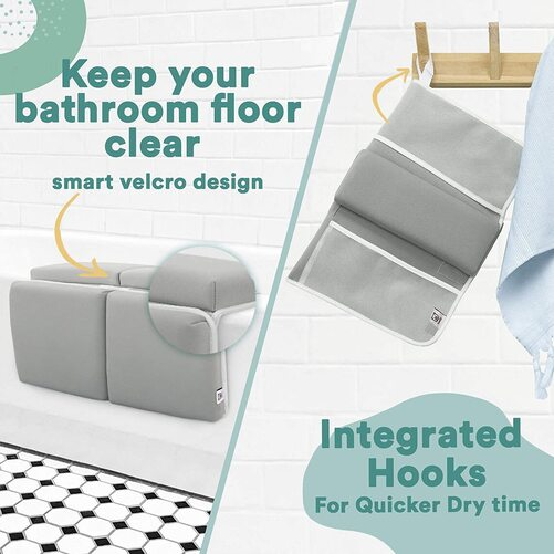 Toodly baby bath kneeler pad and elbow rest with 4 built-in mesh pockets