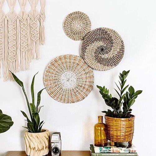 The Flower Bungalow 3 piece Rattan Round Hanging Bohemian Basket Handmade Versatile for Wall Decoration