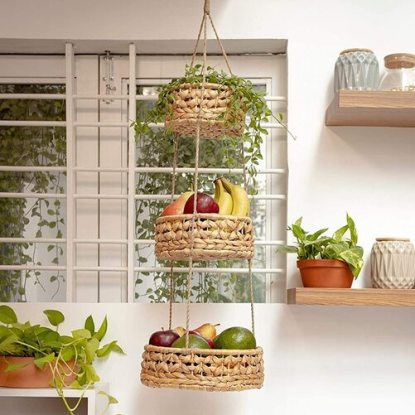 BASE ROOTS Woven Wicker Seagrass 3 tier Hanging Fruit Basket with Jute Rope Modern Boho Home Decor