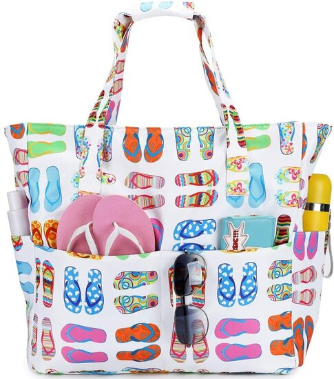 BLUBOON Polyster Beach Tote Bag with Zipper Pocket for Women