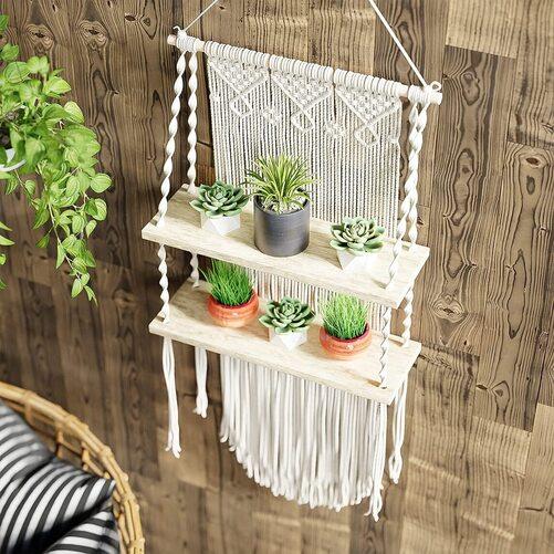 Boxanho Boho Macrame Wood and Cotton Wall Hanging Shelf in Gift Box