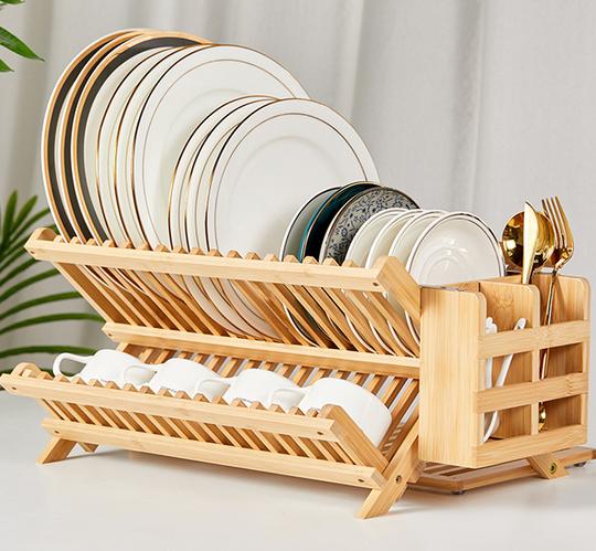 NOVAYEAH Collapsible Bamboo 3 Tier Dish Drying Rack