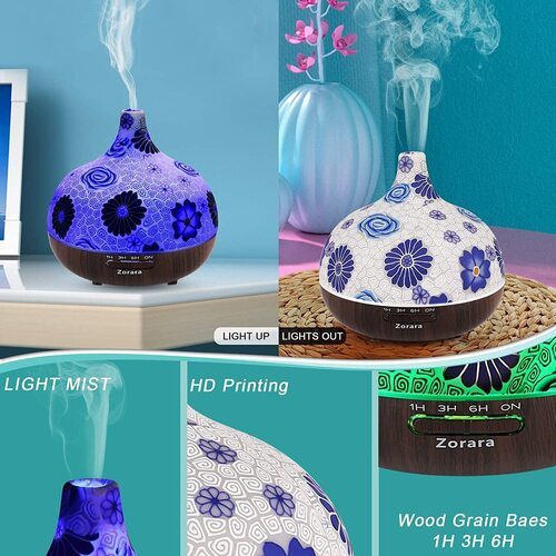 Zorara 550ml Glass Ultrasonic Aromatherapy Essential Oils Diffuser with Night light and Humidification Function