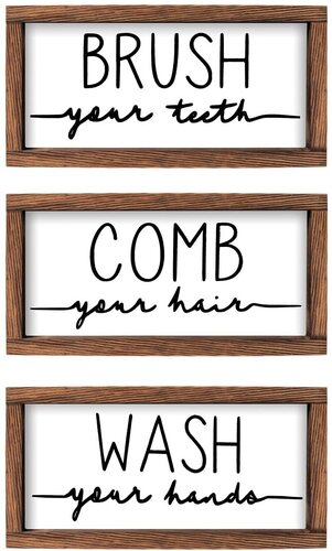 LIBWYS 3 piece Rustic Natural brown wooden Sign and Plaque for Bathroom Decoration