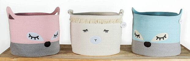 LuxiLily Beautiful Cotton Rope Basket for Storage, Toys, Organization, Laundry, Towels
