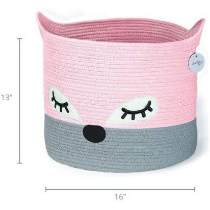 LuxiLily Fox Cotton Rope Storage Basket Cute Nursery Room Decoration
