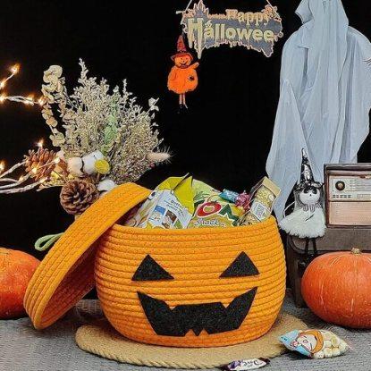 Lixinju Cotton Rope Woven Decorative Pumpkin Halloween Storage Basket with Lid