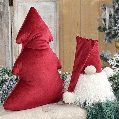 Phantoscope 2pcs Gnome and Xmas Tree Christmas Throw Pillows