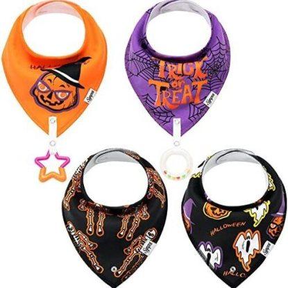 SYNPOS 4pcs Halloween Baby Bandana Drool Bibs