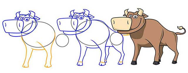 бык поэтапно для срисовки
