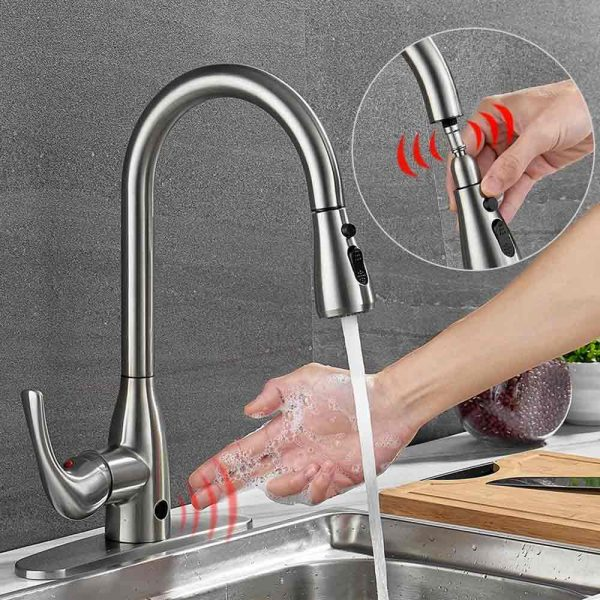 how do non contact kitchen taps work