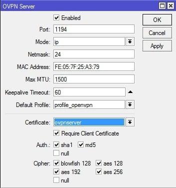 Cara Setting OpenVPN di MikroTik - enable openvpn server-min