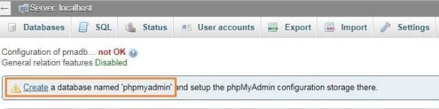 create a database named phpmyadmin