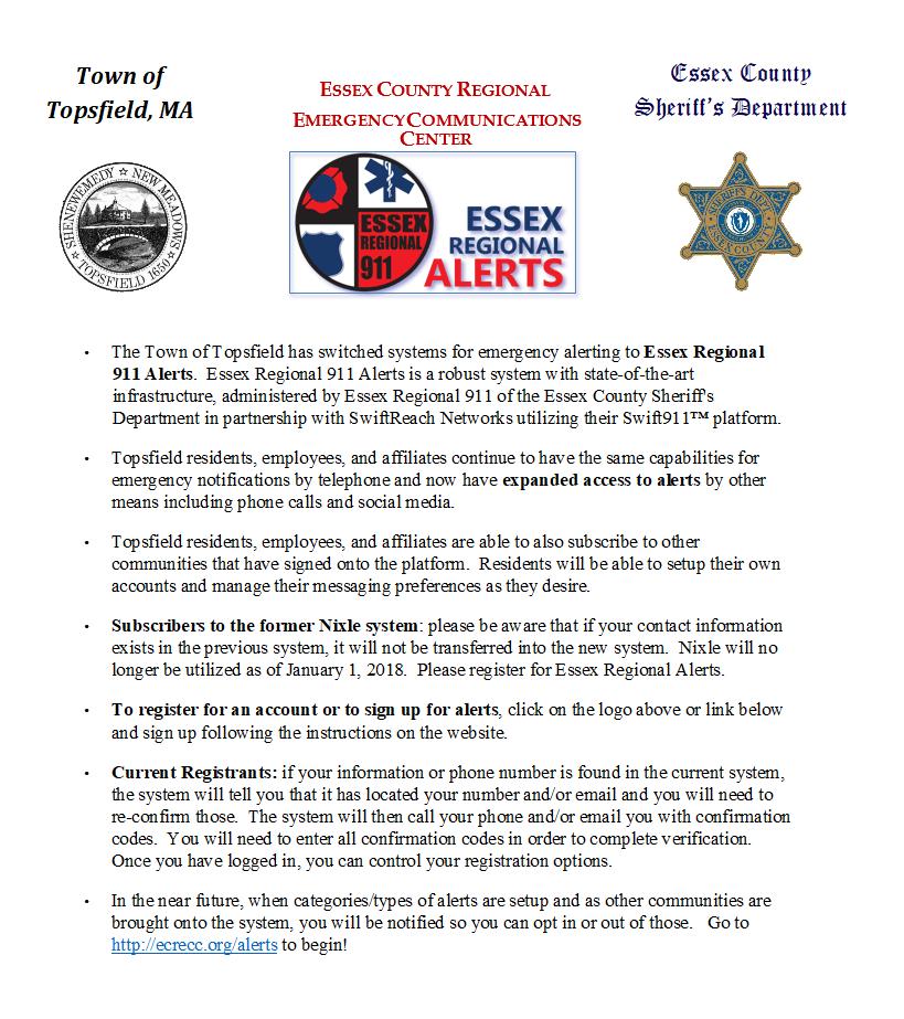 New Topsfield Emergency Alert System in Place - Topsfield