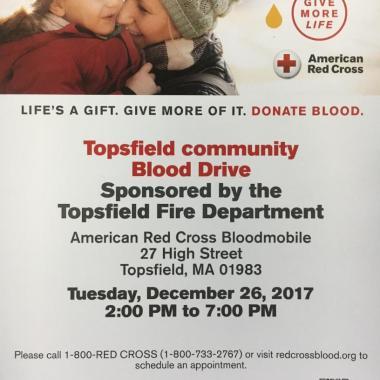 Topsfield FD to Host Blood Drive