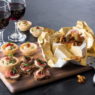 Acacia Charcuterie Board with gold foil food paper