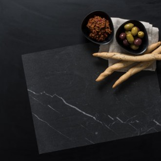 Wax food Paper black Marble with black background