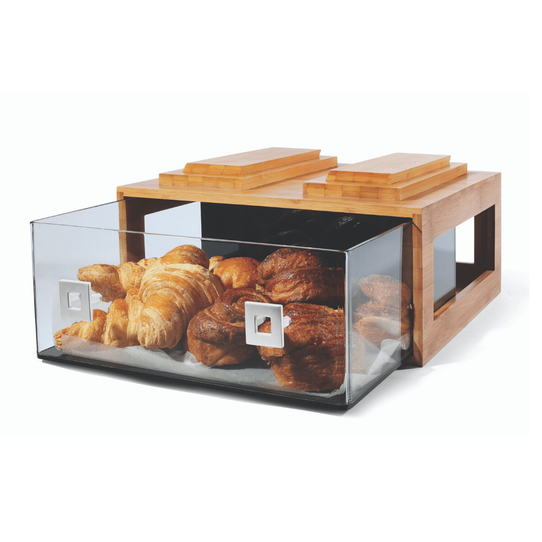 Large bakery drawer in bamboo displaying freshly baked bread