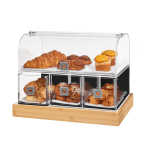 Dome Drawer Bakery Case Acrylic With Bamboo Base displaying various sweets and breads