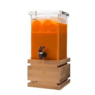 Small square Beverage Dispenser on Bamboo base with orange juice