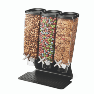 black triple container space saver bulk foods dispenser